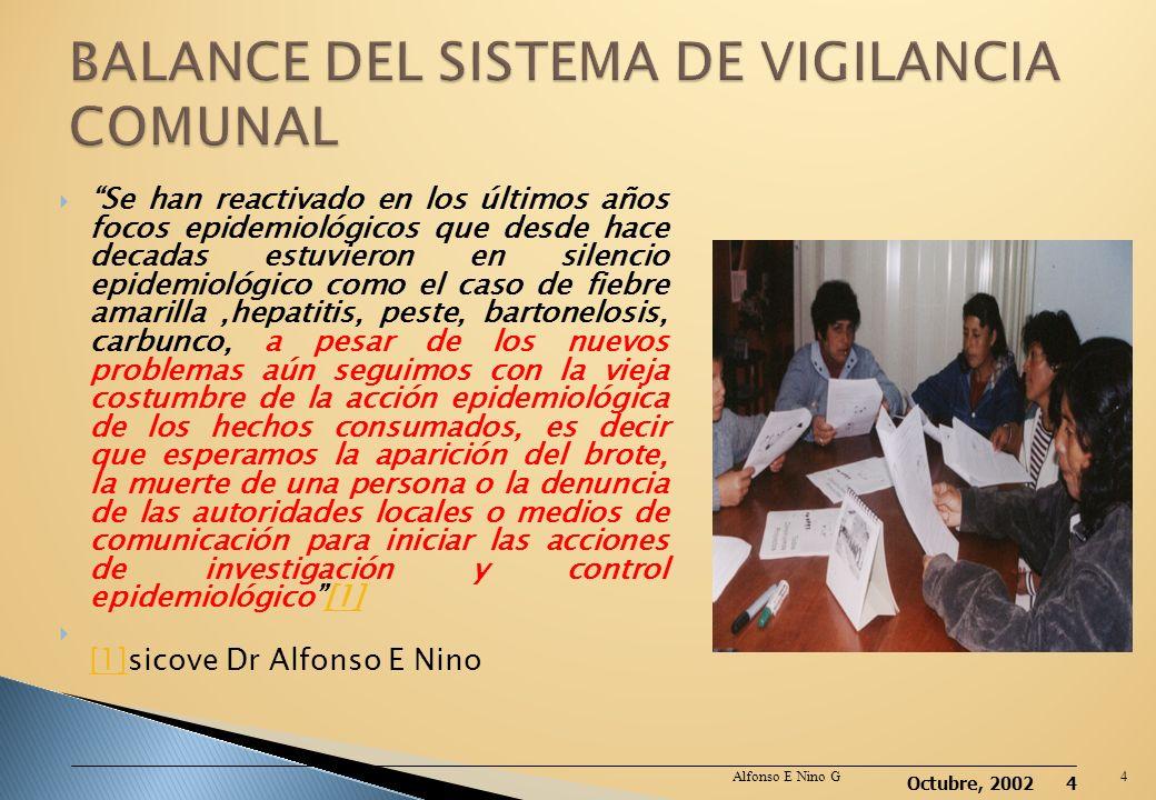 Octubre, 2002 3 Sistema de Voluntarios de Malaria Programa de Erradicación de la Poliomielitis Epidemia del Cólera VEA Comunal Comunidades saludables,
