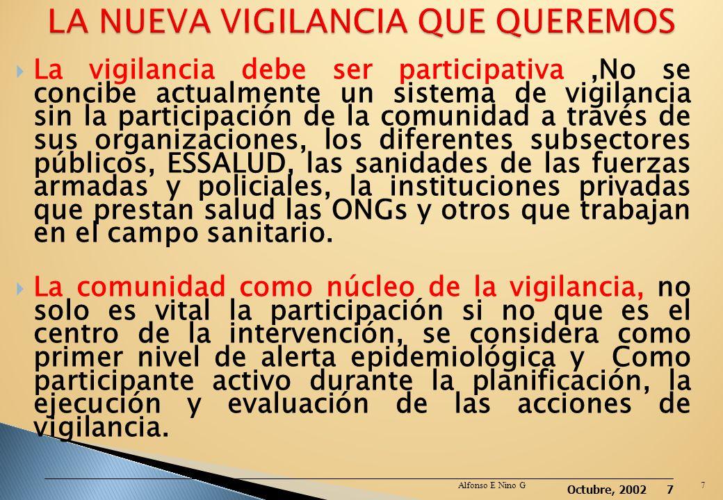 Octubre, 2002 6 La vigilancia de nueva generación debe incorporar el análisis de los aspectos sociales, económicos y culturales dentro del contexto de