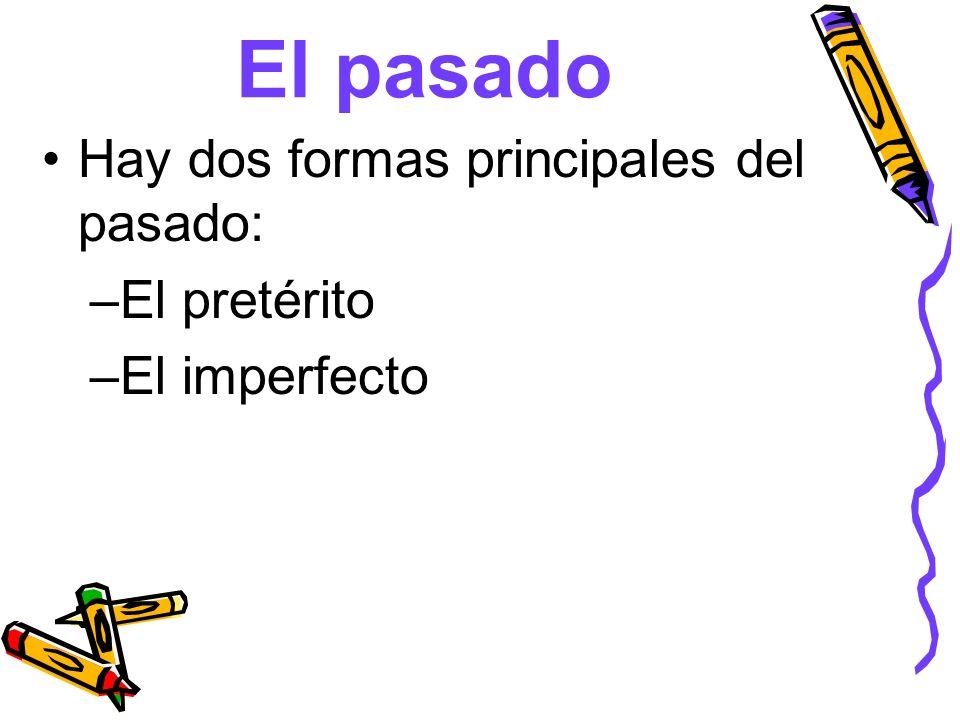 El pasado Hay dos formas principales del pasado: –El pretérito –El imperfecto