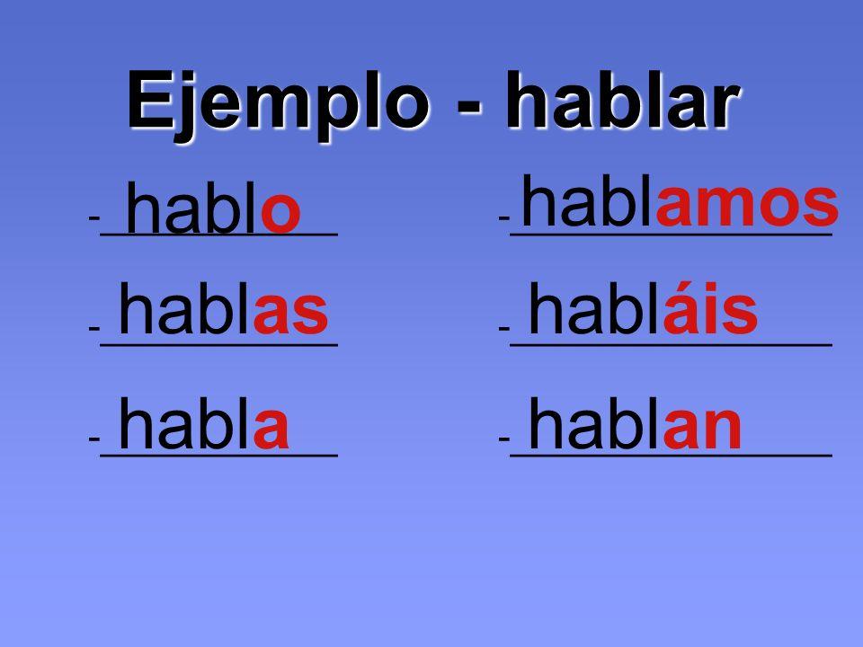 Ejemplo - hablar -___________ -_______________ hablo hablas habla hablamos habláis hablan