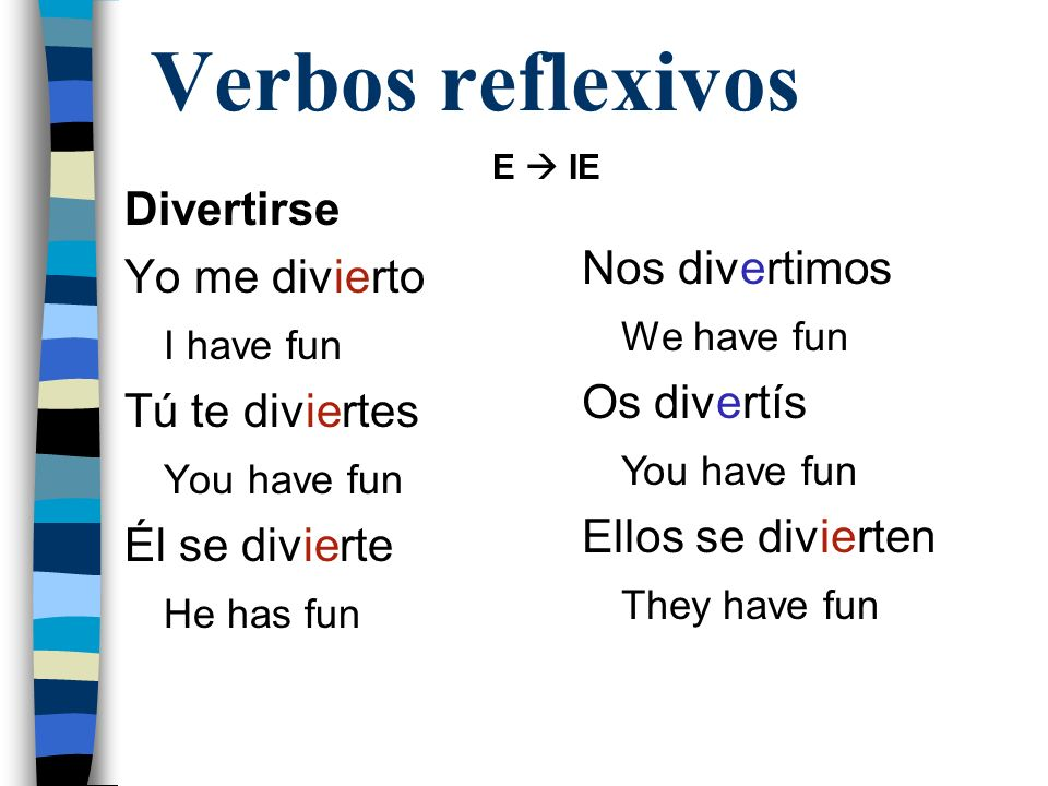 Verbos reflexivos Divertirse Yo me divierto I have fun Tú te diviertes You have fun Él se divierte He has fun Nos divertimos We have fun Os divertís Y