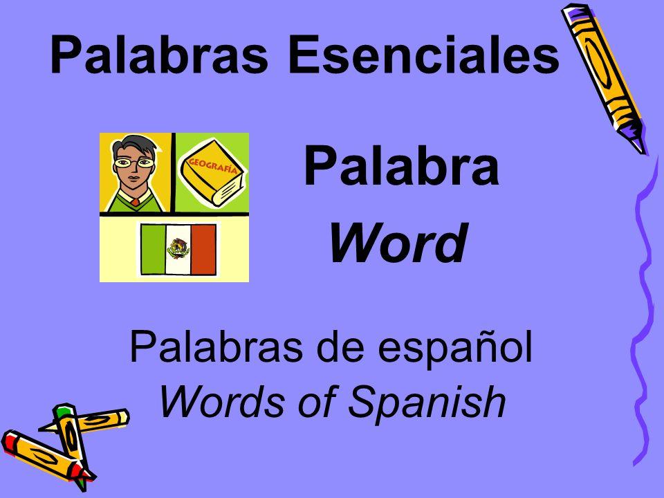 Palabras Esenciales Clase La clase de español Class The class of Spanish