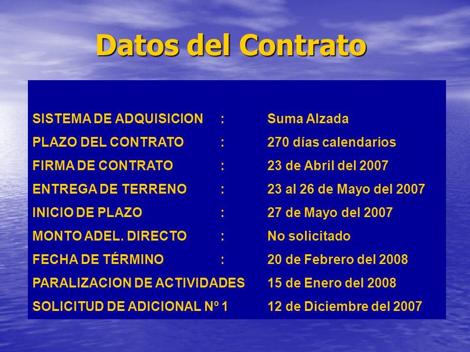 Datos del Contrato SISTEMA DE ADQUISICION:Suma Alzada PLAZO DEL CONTRATO:270 días calendarios FIRMA DE CONTRATO:23 de Abril del 2007 ENTREGA DE TERRENO:23 al 26 de Mayo del 2007 INICIO DE PLAZO:27 de Mayo del 2007 MONTO ADEL.
