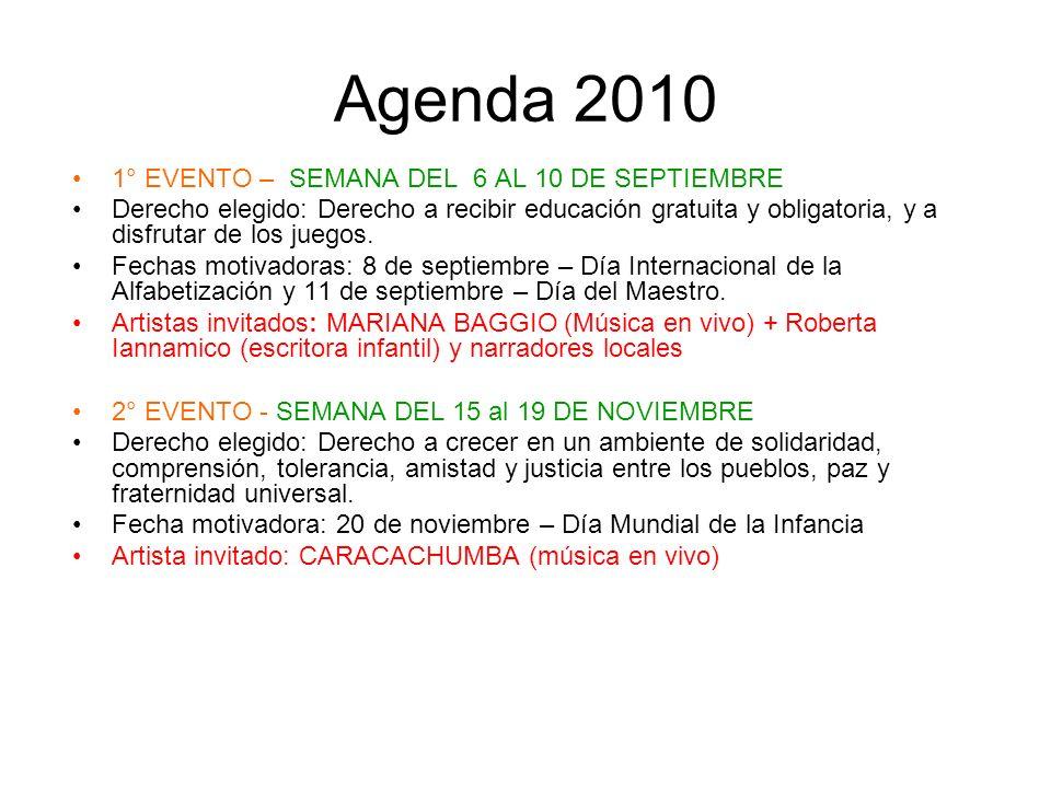 Agenda 2010 1° EVENTO – SEMANA DEL 6 AL 10 DE SEPTIEMBRE Derecho elegido: Derecho a recibir educación gratuita y obligatoria, y a disfrutar de los jue