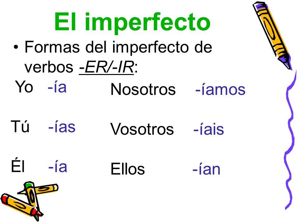 El imperfecto Formas del imperfecto de verbos -ER/-IR: Yo -ía Tú -ías Él -ía Nosotros -íamos Vosotros -íais Ellos -ían