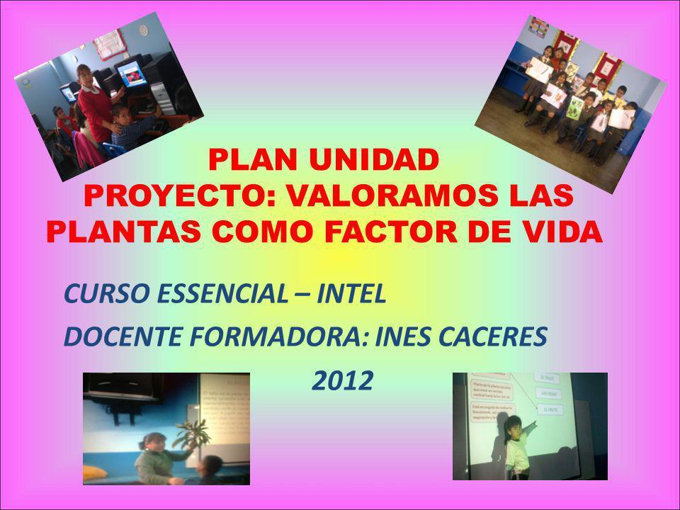 PLAN UNIDAD PROYECTO: VALORAMOS LAS PLANTAS COMO FACTOR DE VIDA CURSO ESSENCIAL – INTEL DOCENTE FORMADORA: INES CACERES 2012
