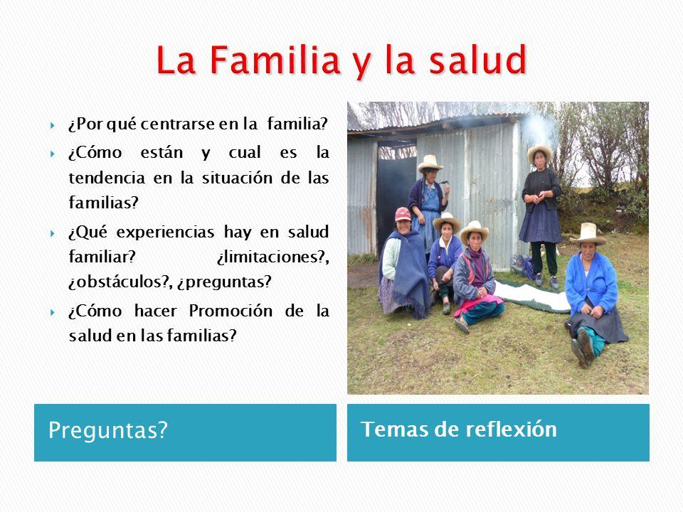 Preguntas? Temas de reflexión ¿Por qué centrarse en la familia? ¿Cómo están y cual es la tendencia en la situación de las familias? ¿Qué experiencias