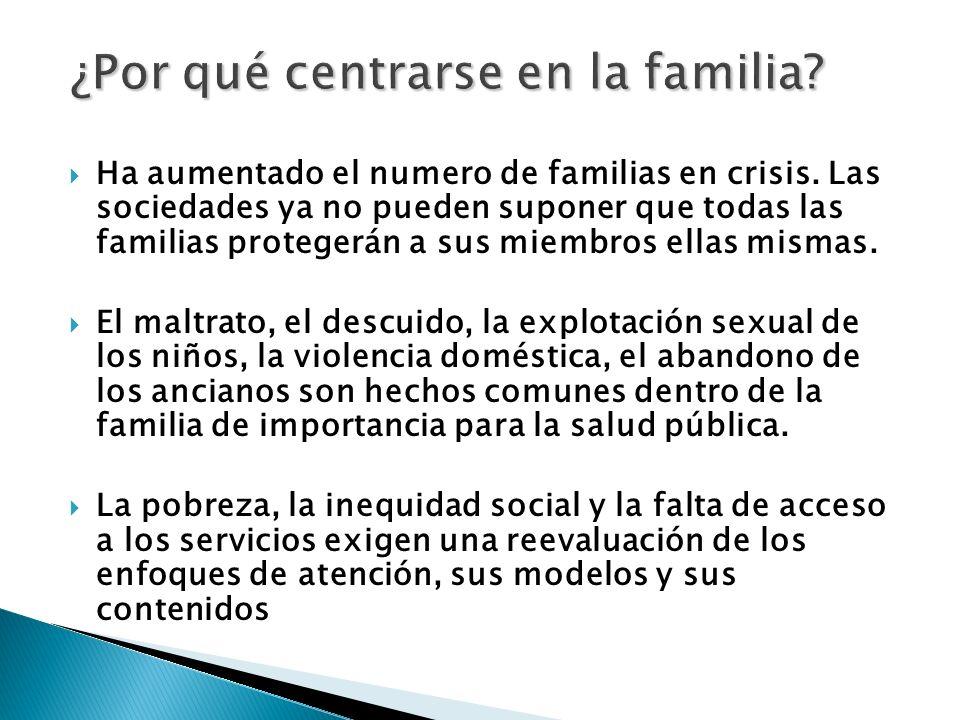 Ha aumentado el numero de familias en crisis. Las sociedades ya no pueden suponer que todas las familias protegerán a sus miembros ellas mismas. El ma