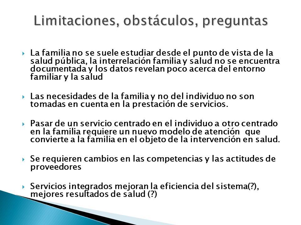 La familia no se suele estudiar desde el punto de vista de la salud pública, la interrelación familia y salud no se encuentra documentada y los datos