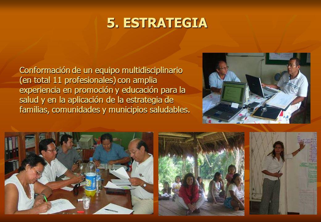 5. ESTRATEGIA Conformación de un equipo multidisciplinario (en total 11 profesionales) con amplia experiencia en promoción y educación para la salud y