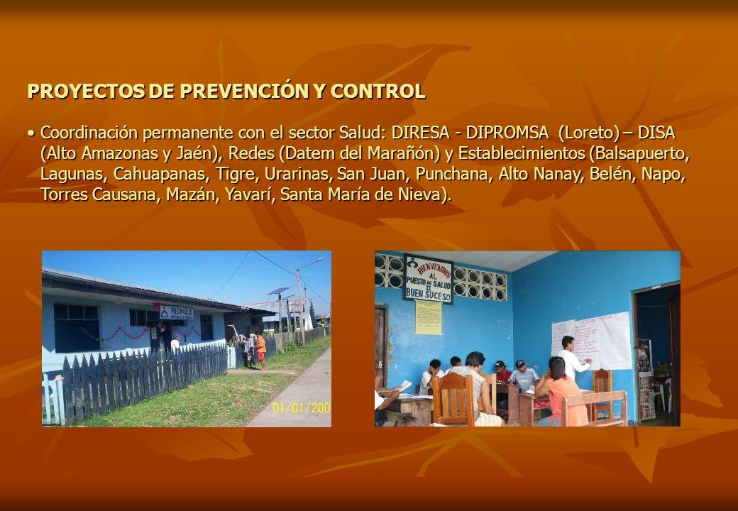 PROYECTOS DE PREVENCIÓN Y CONTROL Coordinación permanente con el sector Salud: DIRESA - DIPROMSA (Loreto) – DISA (Alto Amazonas y Jaén), Redes (Datem
