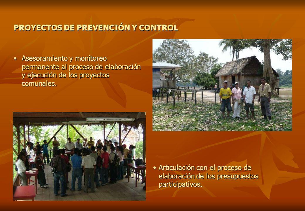 PROYECTOS DE PREVENCIÓN Y CONTROL Articulación con el proceso de elaboración de los presupuestos participativos.Articulación con el proceso de elabora