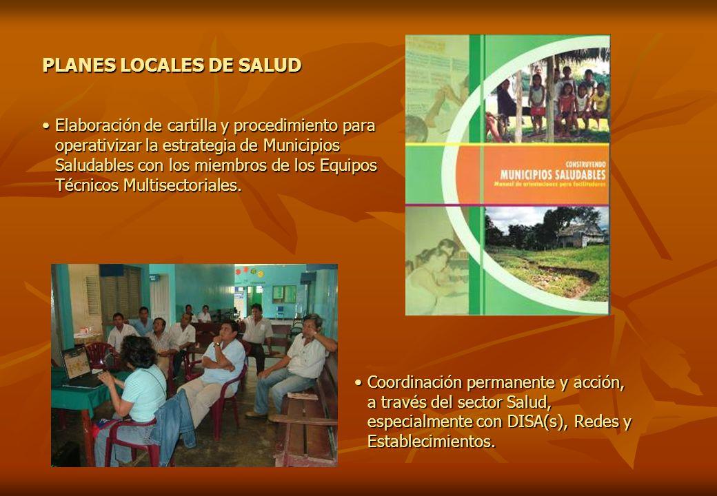 PLANES LOCALES DE SALUD Elaboración de cartilla y procedimiento para operativizar la estrategia de Municipios Saludables con los miembros de los Equip