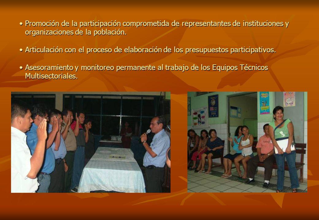Promoción de la participación comprometida de representantes de instituciones y organizaciones de la población.Promoción de la participación compromet