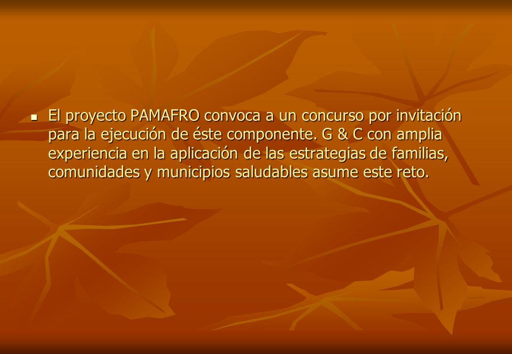 El proyecto PAMAFRO convoca a un concurso por invitación para la ejecución de éste componente. G & C con amplia experiencia en la aplicación de las es