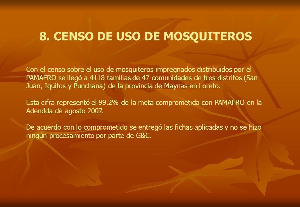8. CENSO DE USO DE MOSQUITEROS Con el censo sobre el uso de mosquiteros impregnados distribuidos por el PAMAFRO se llegó a 4118 familias de 47 comunid