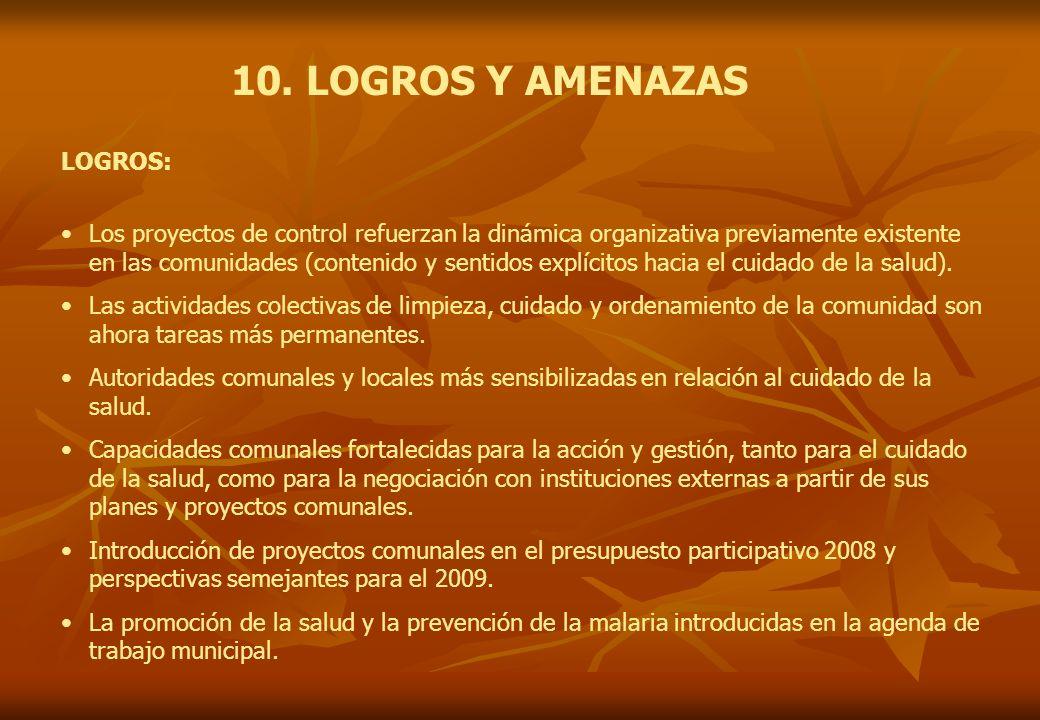 10. LOGROS Y AMENAZAS Los proyectos de control refuerzan la dinámica organizativa previamente existente en las comunidades (contenido y sentidos explí