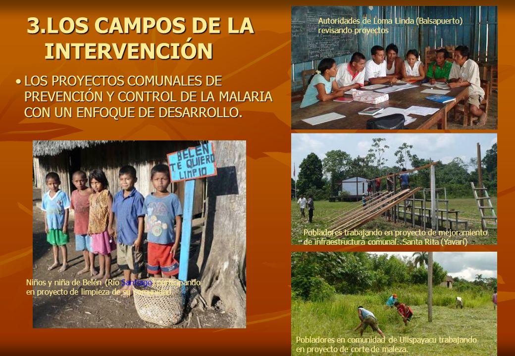 3.LOS CAMPOS DE LA INTERVENCIÓN LOS PROYECTOS COMUNALES DE PREVENCIÓN Y CONTROL DE LA MALARIA CON UN ENFOQUE DE DESARROLLO.LOS PROYECTOS COMUNALES DE