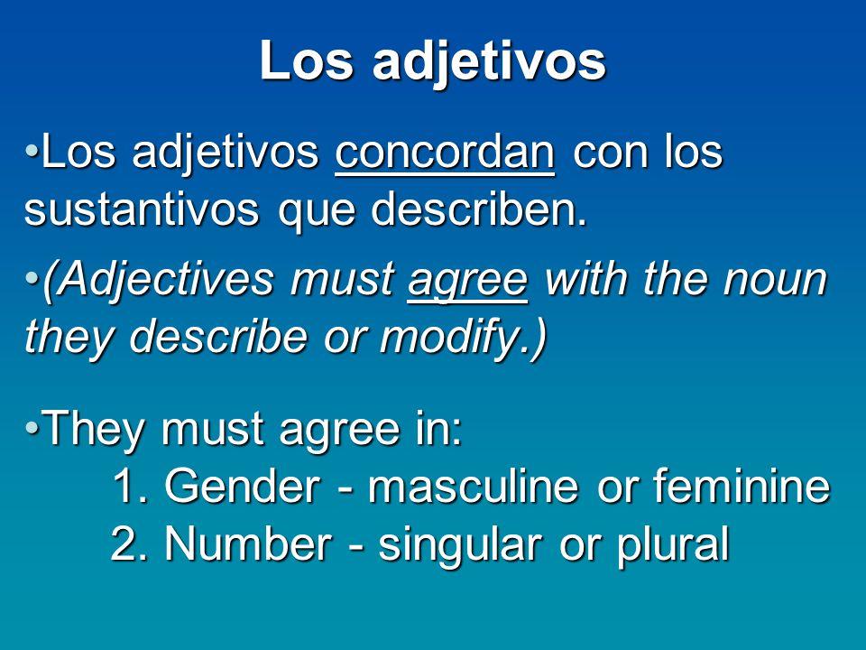 Los adjetivos Los adjetivos concordan con los sustantivos que describen.Los adjetivos concordan con los sustantivos que describen. (Adjectives must ag