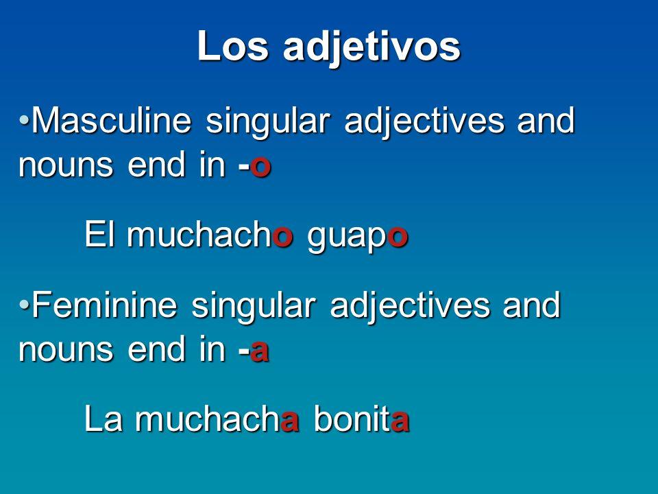 Los adjetivos Masculine singular adjectives and nouns end in -oMasculine singular adjectives and nouns end in -o El muchacho guapo Feminine singular a