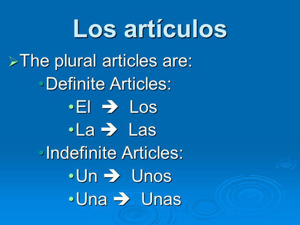 Los artículos The plural articles are: The plural articles are: Definite Articles:Definite Articles: El LosEl Los La LasLa Las Indefinite Articles:Ind