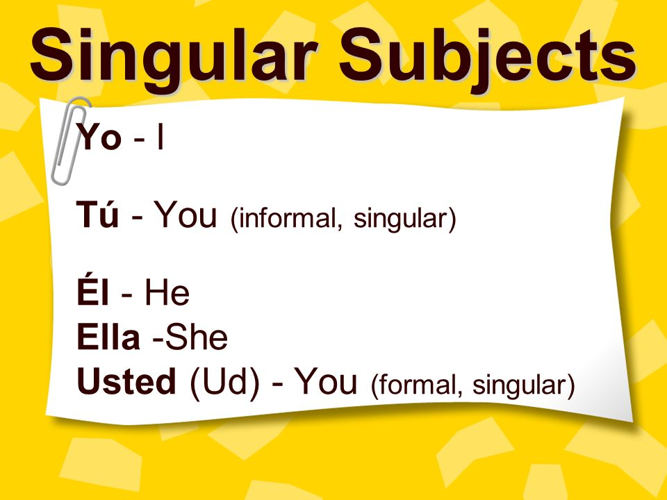 Singular Subjects Yo - I Tú - You (informal, singular) Él - He Ella -She Usted (Ud) - You (formal, singular)