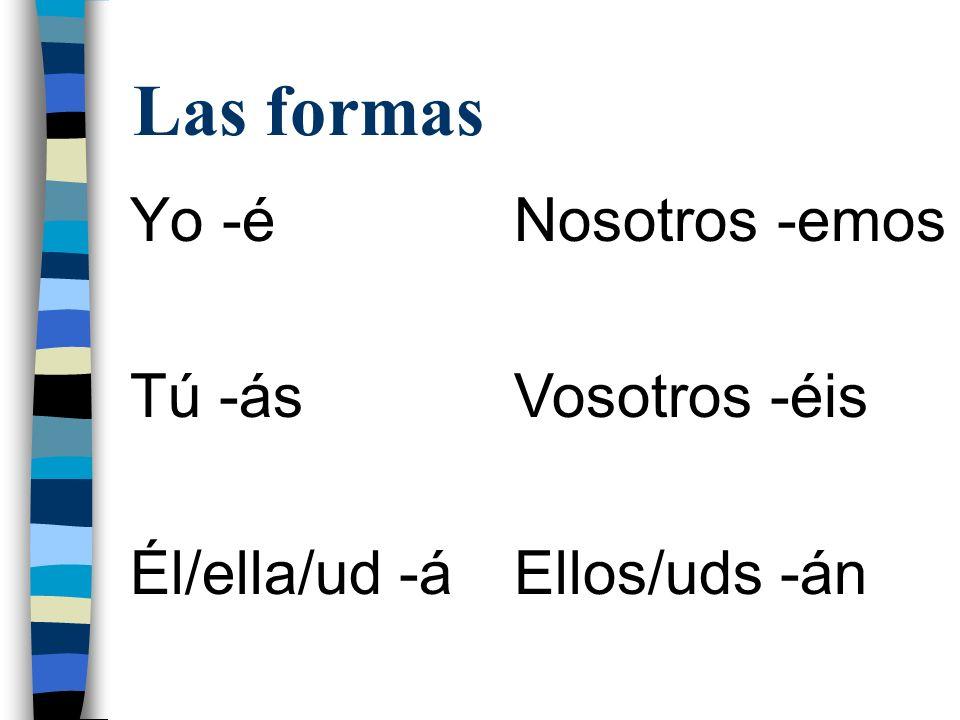 Las formas Yo -é Tú -ás Él/ella/ud -á Nosotros -emos Vosotros -éis Ellos/uds -án