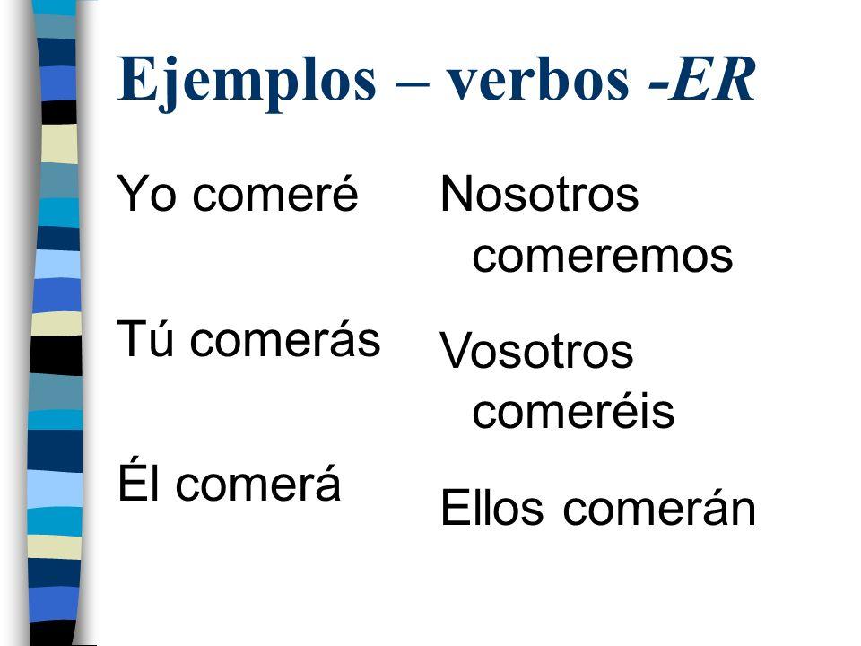 Ejemplos – verbos -ER Yo comeré Tú comerás Él comerá Nosotros comeremos Vosotros comeréis Ellos comerán