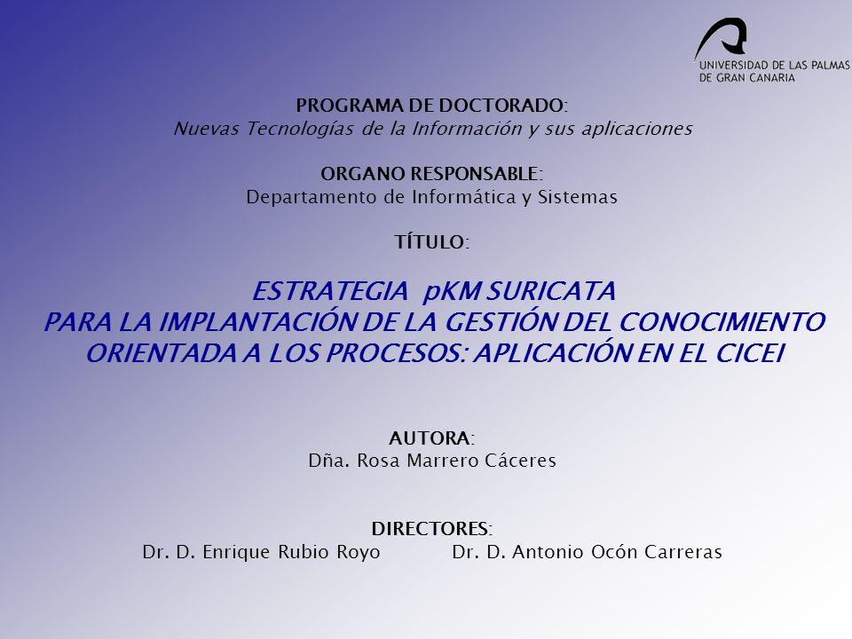 PROGRAMA DE DOCTORADO: Nuevas Tecnologías de la Información y sus aplicaciones ORGANO RESPONSABLE: Departamento de Informática y Sistemas TÍTULO: ESTR
