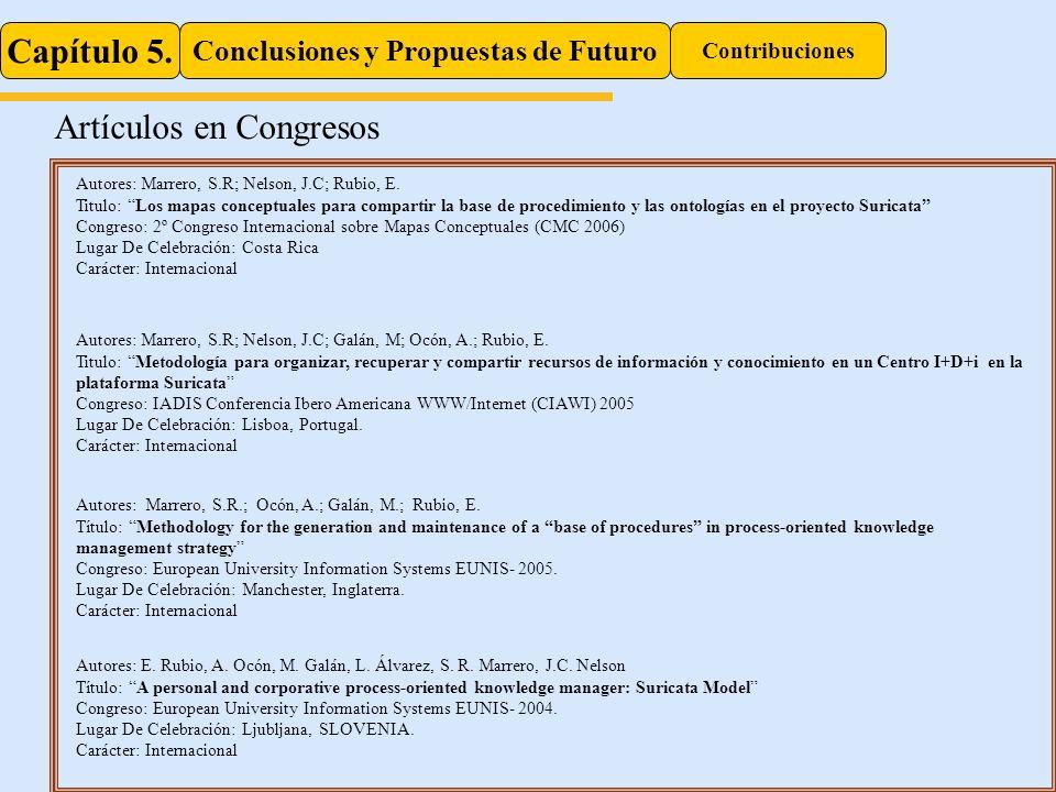Capítulo 5. Conclusiones y Propuestas de Futuro Contribuciones Artículos en Congresos Autores: Marrero, S.R.; Ocón, A.; Galán, M.; Rubio, E. Título: M