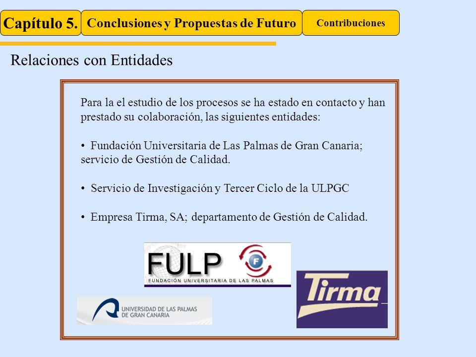 Capítulo 5. Conclusiones y Propuestas de Futuro Contribuciones Relaciones con Entidades Autores: Marrero, S.R.; Ocón, A.; Galán, M.; Rubio, E. Título: