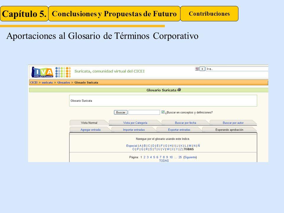 Capítulo 5. Conclusiones y Propuestas de Futuro Contribuciones Aportaciones al Glosario de Términos Corporativo
