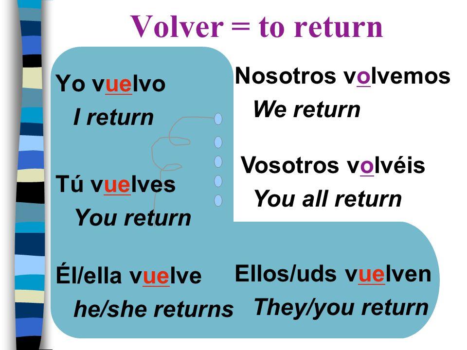 Yo vuelvo I return Tú vuelves You return Él/ella vuelve he/she returns Nosotros volvemos We return Vosotros volvéis You all return Ellos/uds vuelven T