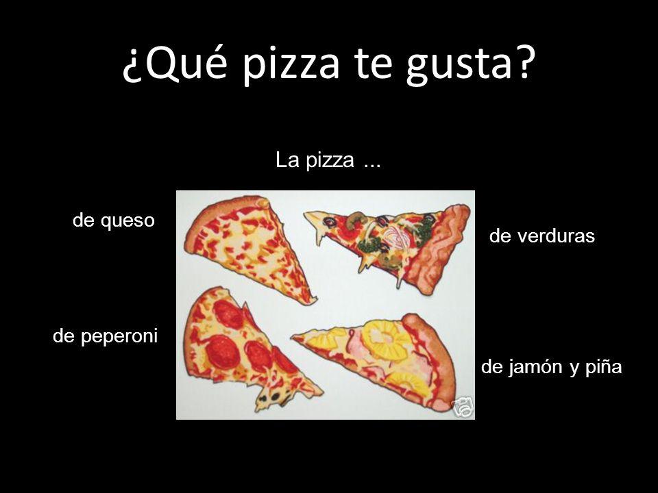 ¿Qué pizza te gusta? de queso de peperoni de verduras de jamón y piña La pizza...