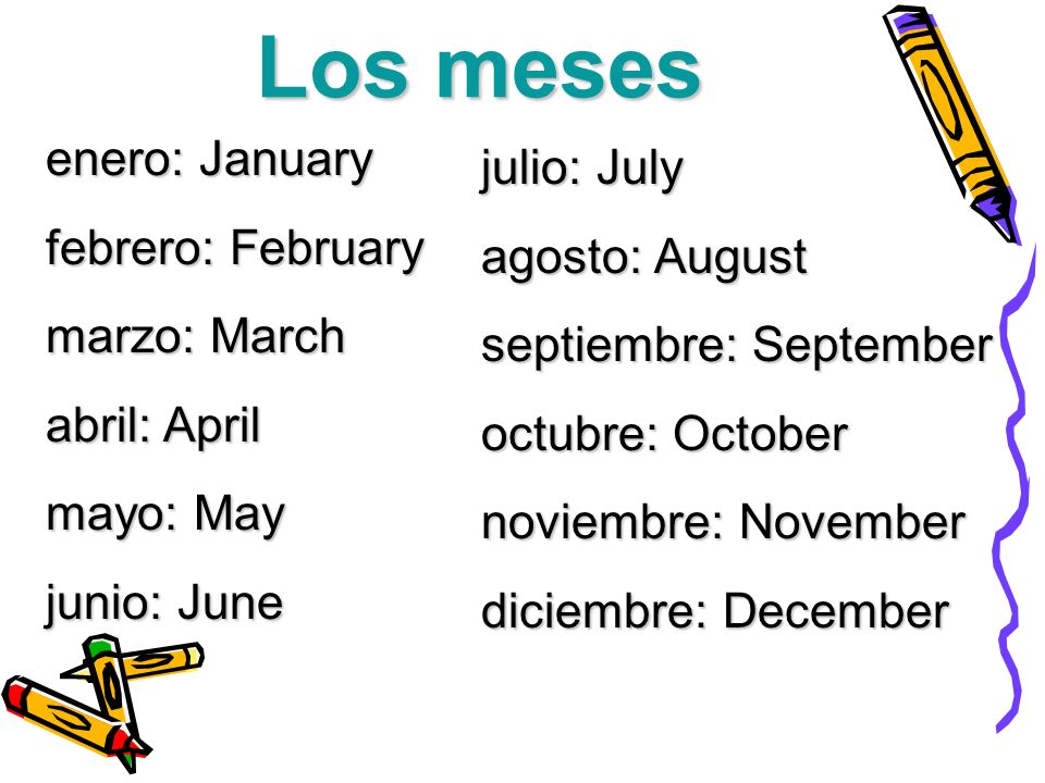 Los meses enero: January febrero: February marzo: March abril: April mayo: May junio: June julio: July agosto: August septiembre: September octubre: O