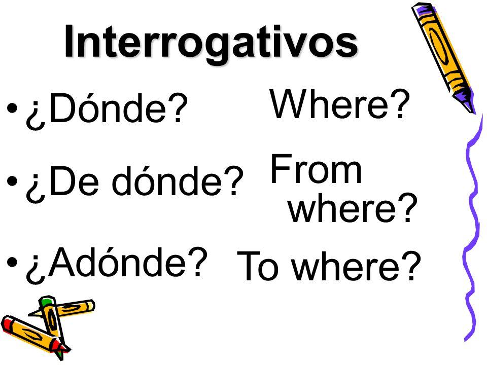 Interrogativos ¿Dónde? Where? ¿De dónde? From where? To where? ¿Adónde?