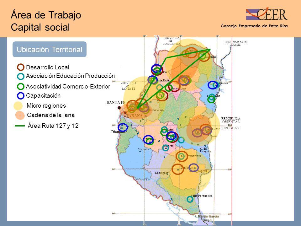 Consejo Empresario de Entre Ríos Área de Trabajo Capital social Ubicación Territorial Diamante C.