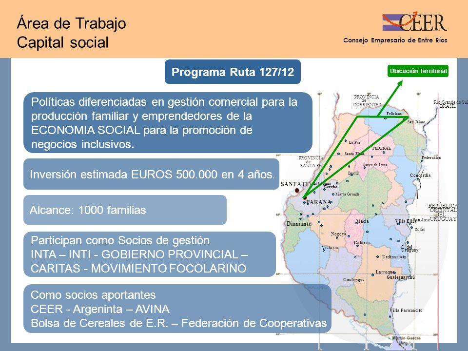 Consejo Empresario de Entre Ríos Área de Trabajo Capital social Programa Ruta 127/12 Políticas diferenciadas en gestión comercial para la producción familiar y emprendedores de la ECONOMIA SOCIAL para la promoción de negocios inclusivos.