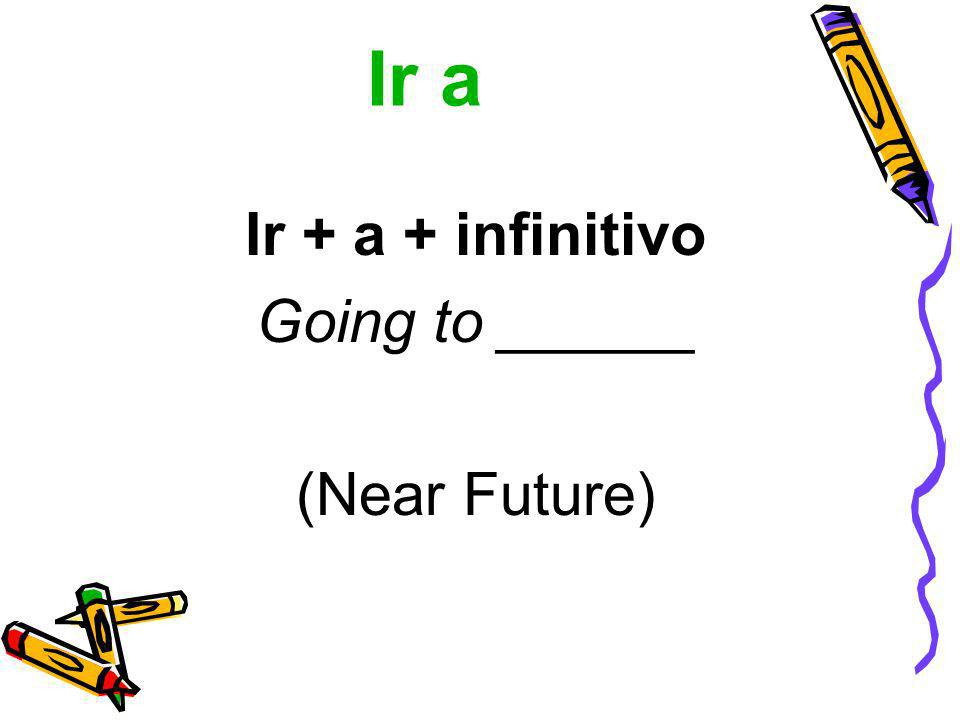 Ir a Ir + a + infinitivo Going to ______ (Near Future)
