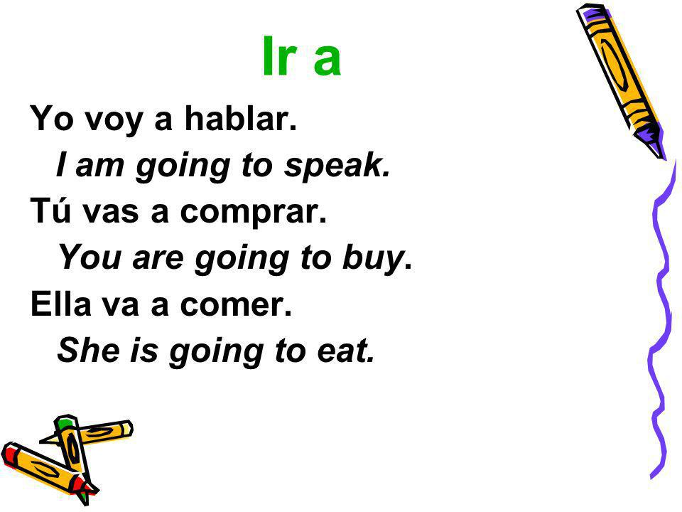 Ir a Yo voy a hablar. I am going to speak. Tú vas a comprar. You are going to buy. Ella va a comer. She is going to eat.
