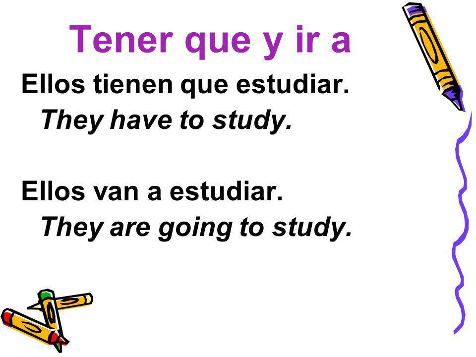 Tener que y ir a Ellos tienen que estudiar. They have to study. Ellos van a estudiar. They are going to study.