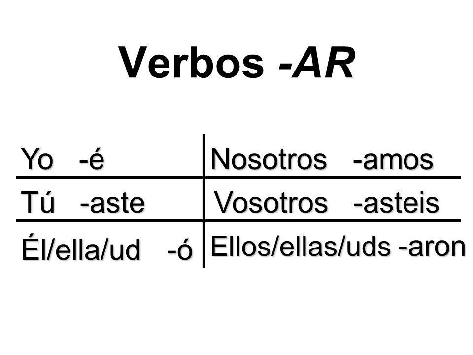 Verbos -AR Yo -é Tú -aste Él/ella/ud -ó Nosotros -amos Vosotros -asteis Ellos/ellas/uds -aron