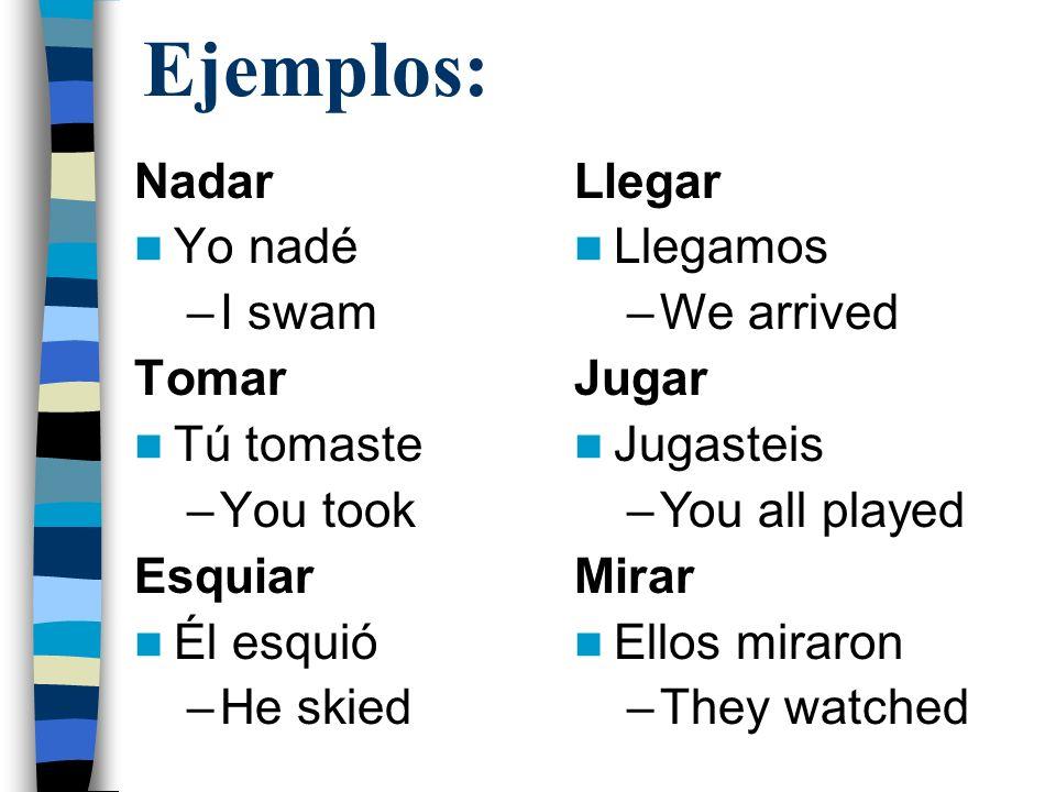 Ejemplos: Nadar Yo nadé –I swam Tomar Tú tomaste –You took Esquiar Él esquió –He skied Llegar Llegamos –We arrived Jugar Jugasteis –You all played Mir