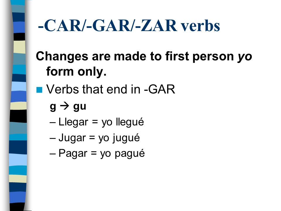 -CAR/-GAR/-ZAR verbs Changes are made to first person yo form only.