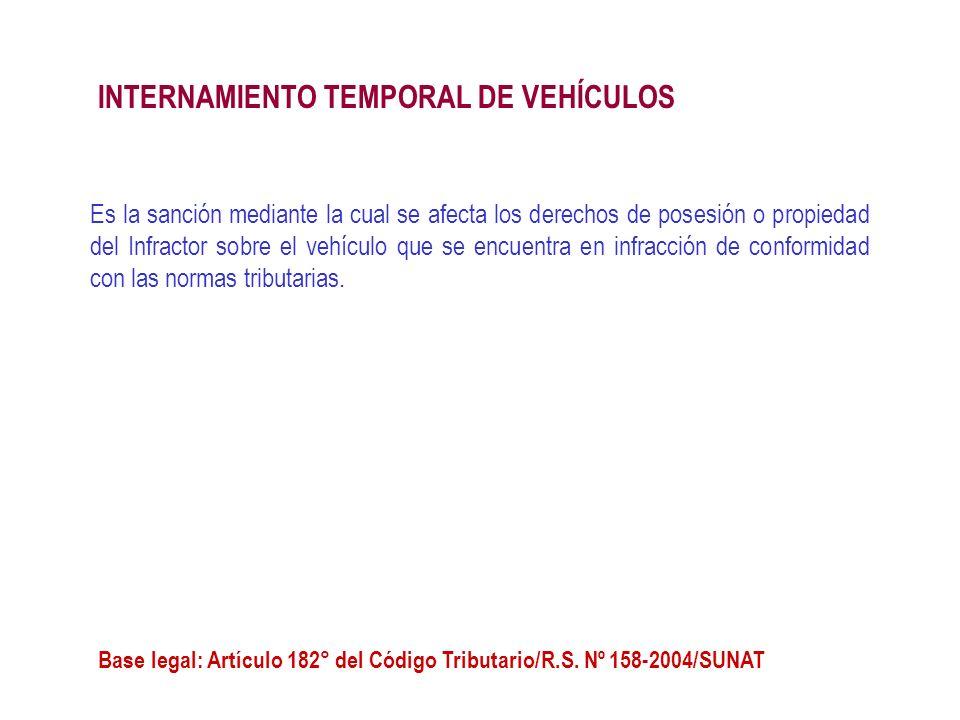 Es la sanción mediante la cual se afecta los derechos de posesión o propiedad del Infractor sobre el vehículo que se encuentra en infracción de confor