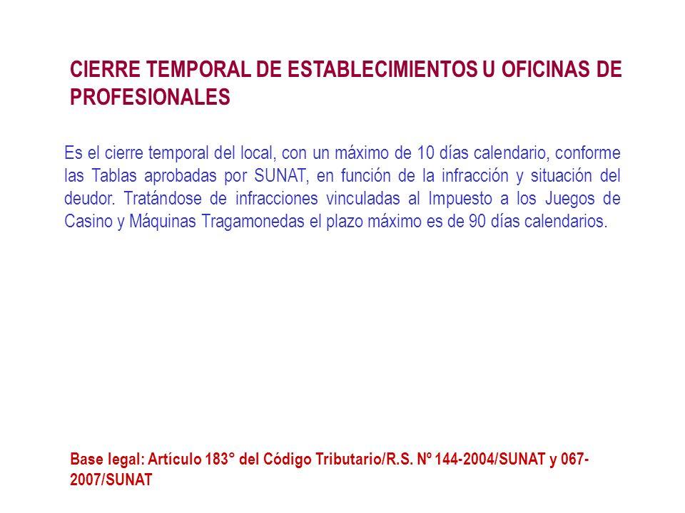 Es el cierre temporal del local, con un máximo de 10 días calendario, conforme las Tablas aprobadas por SUNAT, en función de la infracción y situación