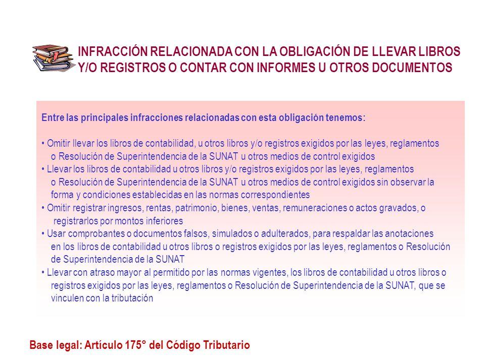 INFRACCIÓN RELACIONADA CON LA OBLIGACIÓN DE LLEVAR LIBROS Y/O REGISTROS O CONTAR CON INFORMES U OTROS DOCUMENTOS Base legal: Artículo 175° del Código