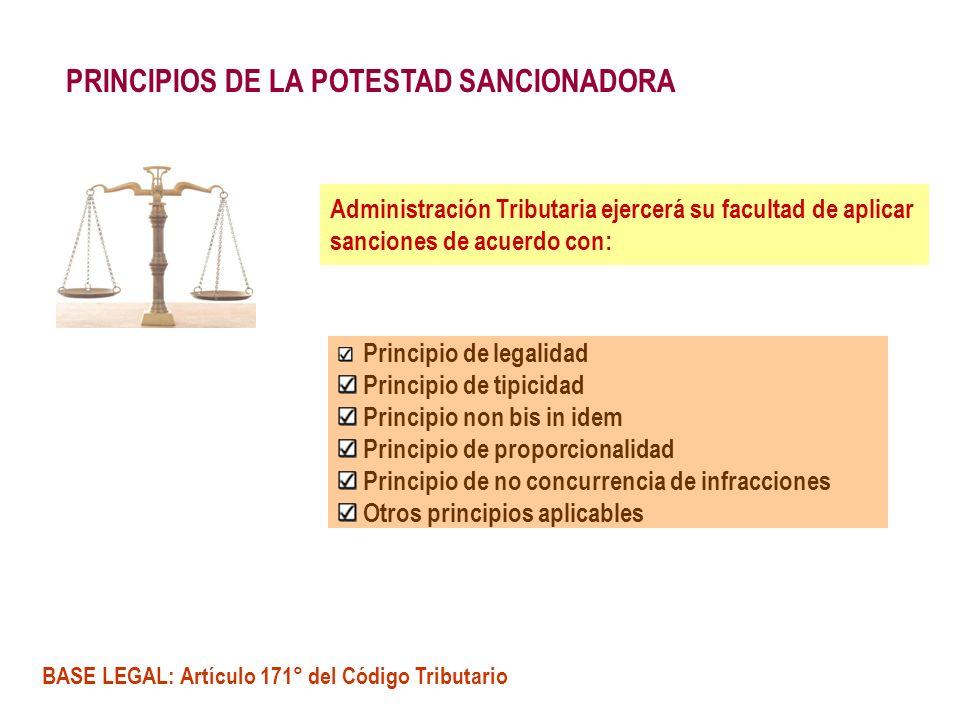 PRINCIPIOS DE LA POTESTAD SANCIONADORA Administración Tributaria ejercerá su facultad de aplicar sanciones de acuerdo con: Principio de legalidad Prin