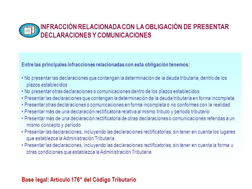 INFRACCIÓN RELACIONADA CON LA OBLIGACIÓN DE PRESENTAR DECLARACIONES Y COMUNICACIONES Base legal: Artículo 176° del Código Tributario Entre las princip