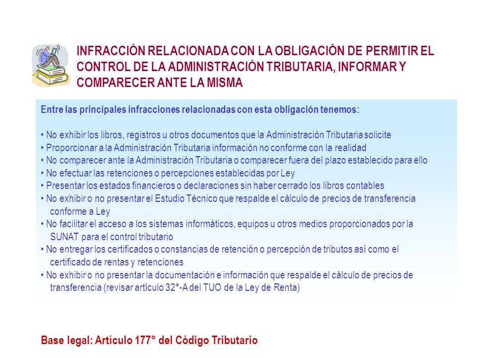 INFRACCIÓN RELACIONADA CON LA OBLIGACIÓN DE PERMITIR EL CONTROL DE LA ADMINISTRACIÓN TRIBUTARIA, INFORMAR Y COMPARECER ANTE LA MISMA Base legal: Artíc